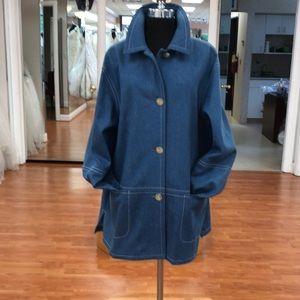 Women's single breasted denim pea coat, made in US
